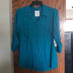 Style & Co. teal button up